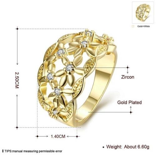 Yellow Gold Filled and CZ Accented Ring Size 8