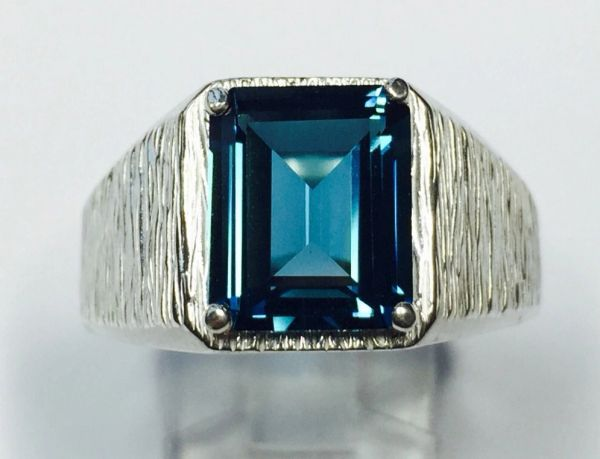Sterling Silver Mens Genuine Octagon London Blue Topaz Inset Textured Heavy Solitaire Ring
