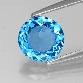 ROUND FACETED AAA BRIGHT SWISS BLUE (NATURAL) TOPAZ