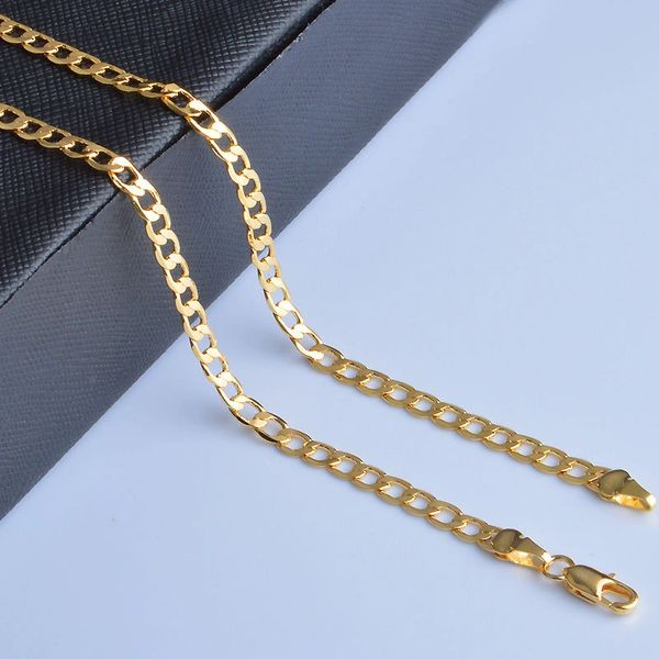 "Men's 18kt Yellow Gold Plated 20"" Link Chain"