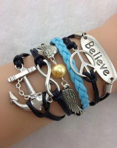 "Infinity ""Believe"" Corded & Black Leather Wrap Bracelet"