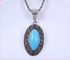 Elegant Imitation Turquoise Dangle Necklace: Silver Plated