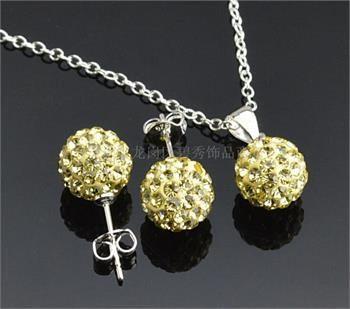 Set of 10mm Round Rhinestone Disco Ball Pendant Necklace & Earrings
