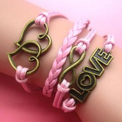"Bronze Plated Infinity Double Heart ""Love"" Charm Corded Wrap Bracelet"