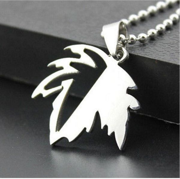 Stainless Steel Titanium Maple Style Pendant and Chain