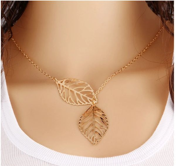 Delicate Double Leaf Style Necklace