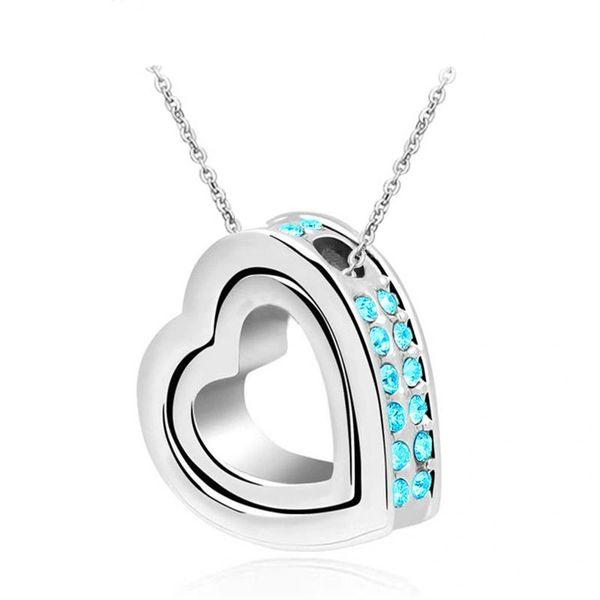 Sky Blue Rhinestones Silver Colored Love Heart Necklace