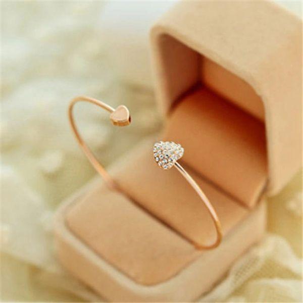 Golden Alloy Love Heart Bangle Cuff Bracelet