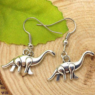 Cute Pair of Dinosaur Dangle Earrings (Pierced)