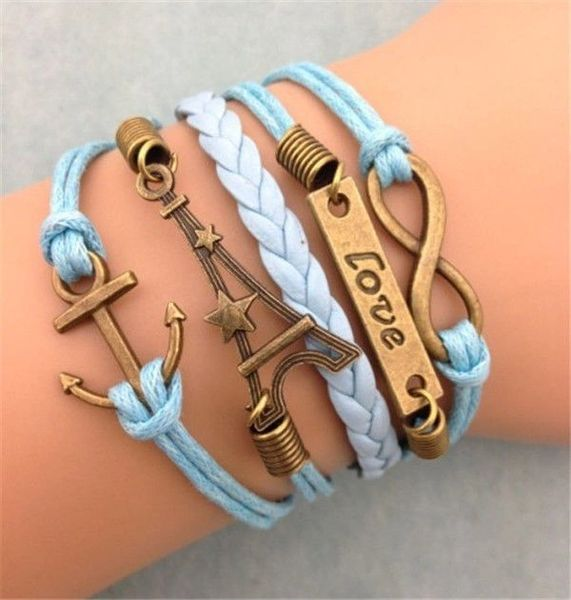 """Copper Plated Infinity """"Anchor"""" Charm Corded Wrap Bracelet"""