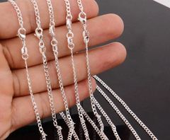 "Very Nice 28"" Silver Plated 1.4mm Curb Chain With Crab Claw Clasp"