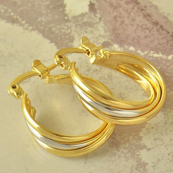 14kt Yellow Gold Filled Fancy (24mm) Hoop Earrings