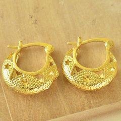 14kt Yellow Gold Filled Fancy (19mm) Hoop Earrings
