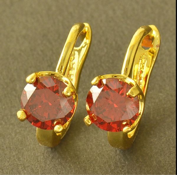 14kt Yellow Gold Filled Fancy (16mm) Lab Ruby Hoop Earrings