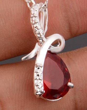 Fancy Silver Pear Bright Red Cubic Zirconia Pendant (Chain Not Included)