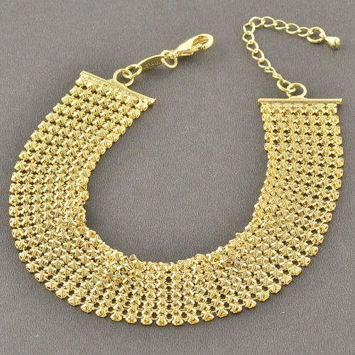 "European Yellow Gold Filled 8.26"" Adjustable Wide Bracelet"