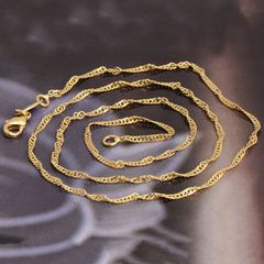 "19"" Yellow Gold Filled Water Wave Chain With Crab Claw Clasp"
