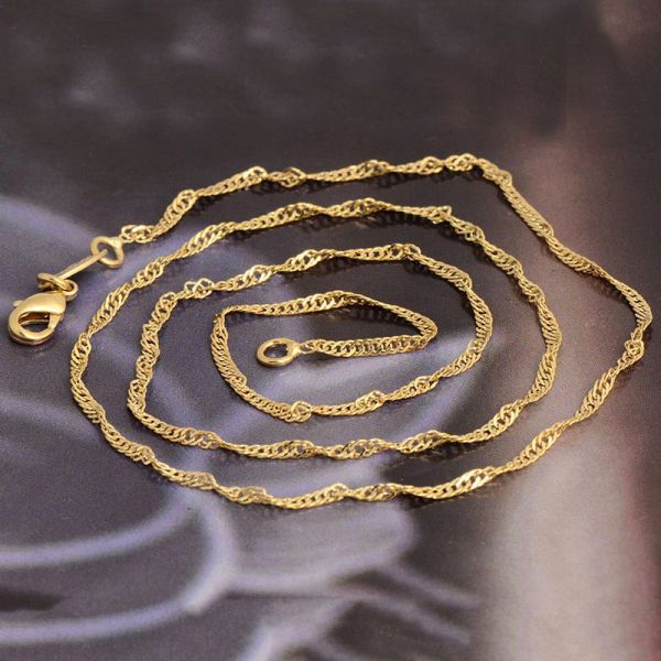 """19"""" Yellow Gold Filled Water Wave Chain With Crab Claw Clasp"""