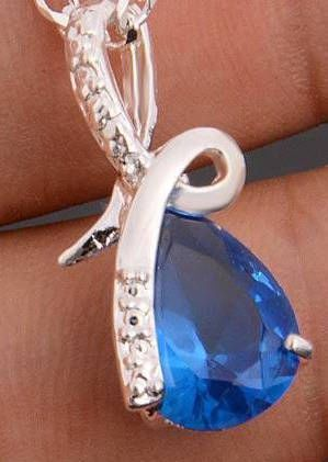 Fancy Silver Pear Bright Blue Cubic Zirconia Pendant (Chain Not Included)