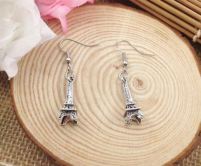 Cute Pair of Silver Colored Eiffel Tower Dangle Earrings (Pierced)