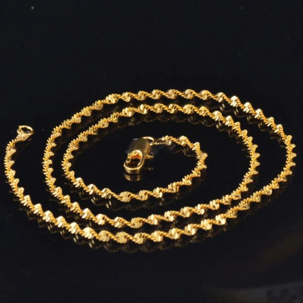 """17"""" Yellow Gold Filled Water Wave Chain With Crab Claw Clasp"""