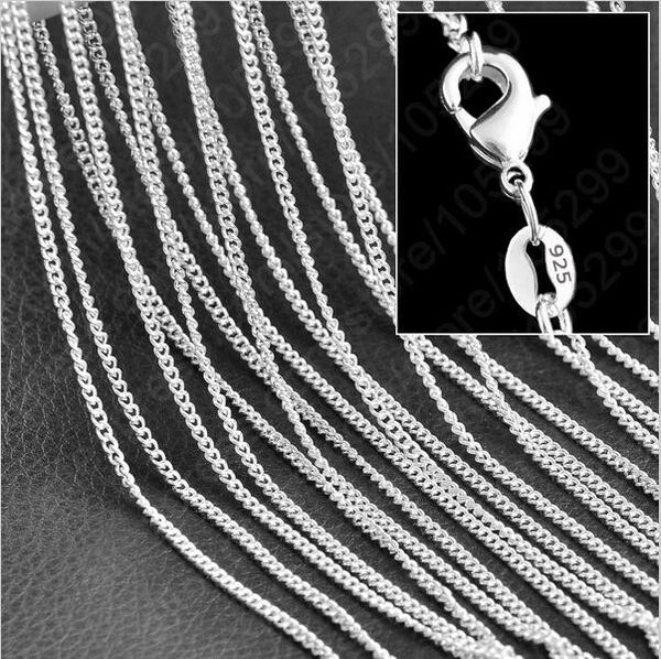 "Silver Plated 20"", 24"" 26"" & 30"" Rolo Curb Chain with Crab Claw Clasp"