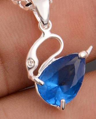 Fancy Silver Plated Pear Bright Blue or Red Cubic Crystal Swan Pendant (Chain Not Included)