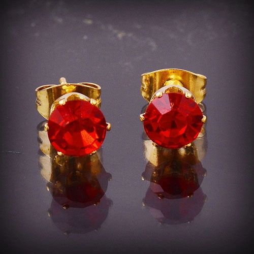 14kt Yellow Gold Filled Garnet CZ Stud Earrings