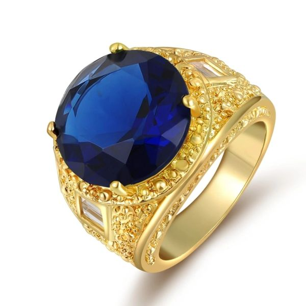 10kt Yellow Gold Filled Sapphire Blue CZ Fashion Ring Size 10