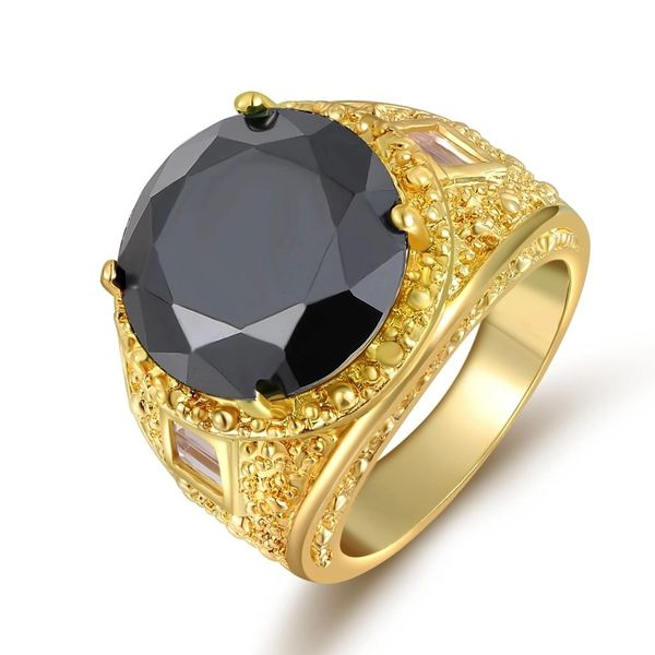 10kt Yellow Gold Filled Black Sapphire CZ Fashion Ring Size 9