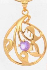 Fancy 18kt Yellow Gold Plated 5mm Round Bright Purple CZ Pendant (Chain Not Included)