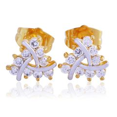 14kt Yellow and White Gold Filled Two-Toned Crystal Stud Earrings