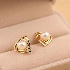 Yellow Gold Plated White Imitation Pearl Stud Earrings