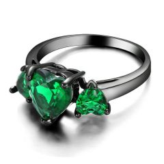 10kt Black Gold Filled Bright Green Cubic Zirconia Heart Ring Size 6.5