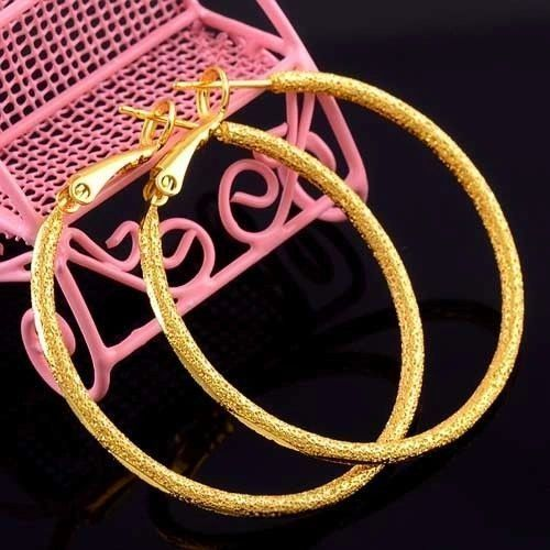 14kt Yellow Gold Filled Fancy (47mm) Hoop Earrings