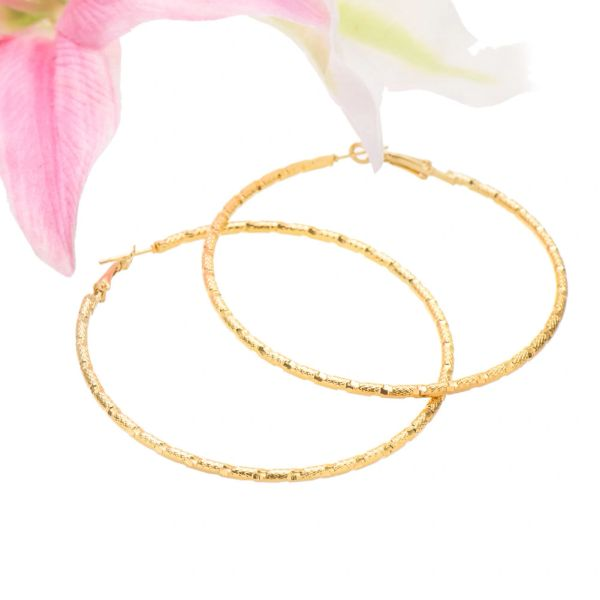 14kt Yellow Gold Filled Fancy (67mm) Hoop Earrings