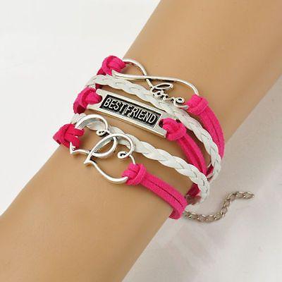 """Infinity Love """"Best Friend"""" Double Heart Corded Wrap Bracelet"""