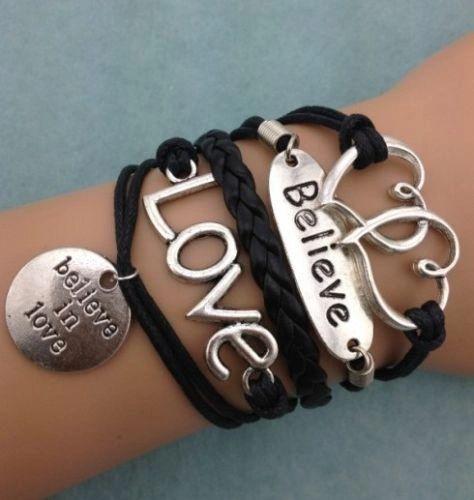 """Infinity Love """"Believe"""" Double Heart Corded Wrap Bracelet"""