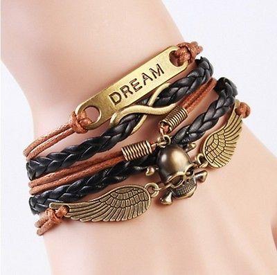 Infinity Dream & Skull Corded Wrap Bracelet