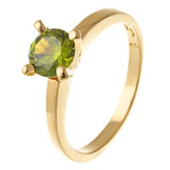 Yellow Gold Filled 6mm Round Olive Green CZ Solitaire Ring Size 7