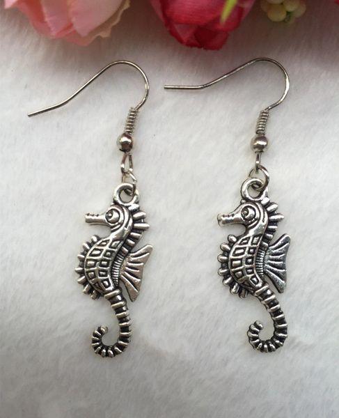 Cute Pair of Sea Horse Dangle Earrings (Pierced)