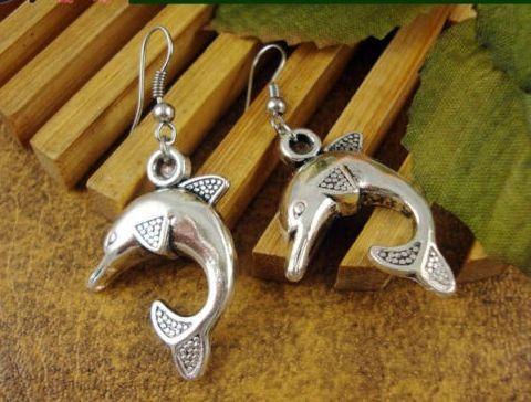 Cute Pair of Dolphin Dangle Earrings (Pierced)