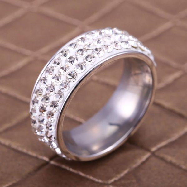 8mm Wide Stainless Steel Full Crystal Ring Size 6, 7, 8, 10 & 11