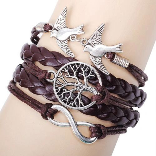 Antique Silver Infinity Double Birds Charm Leather Wrap Bracelet