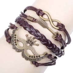 Antique Silver Infinity Crown and Arrow Charm Leather Wrap Bracelet