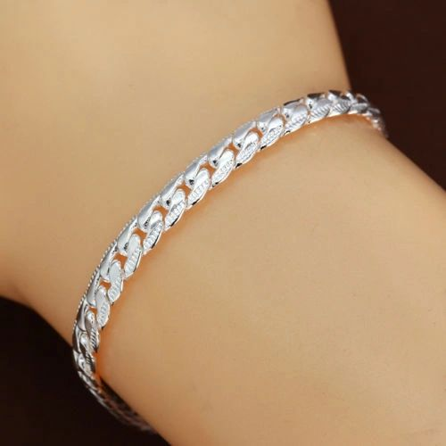 """5mm Silver Plated 7.87"""" Flat Snake Chain With Lobster Claw Clasp"""