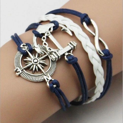 Antique Silver Infinity Anchor and Compass Charm Leather Wrap Bracelet