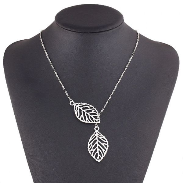 Elegant Silver Colored Double Leaf Necklace With Chain