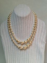 Double Strand Glass Pearl Necklace, Creamy White Glass Pearl Necklace , Bride Gift Pearl Necklace.