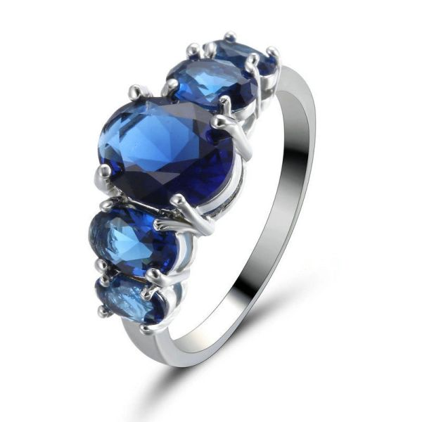 10kt White Gold Filled Bright Sapphire Blue Cubic Zirconia Ring Size 6.5 & 8.5